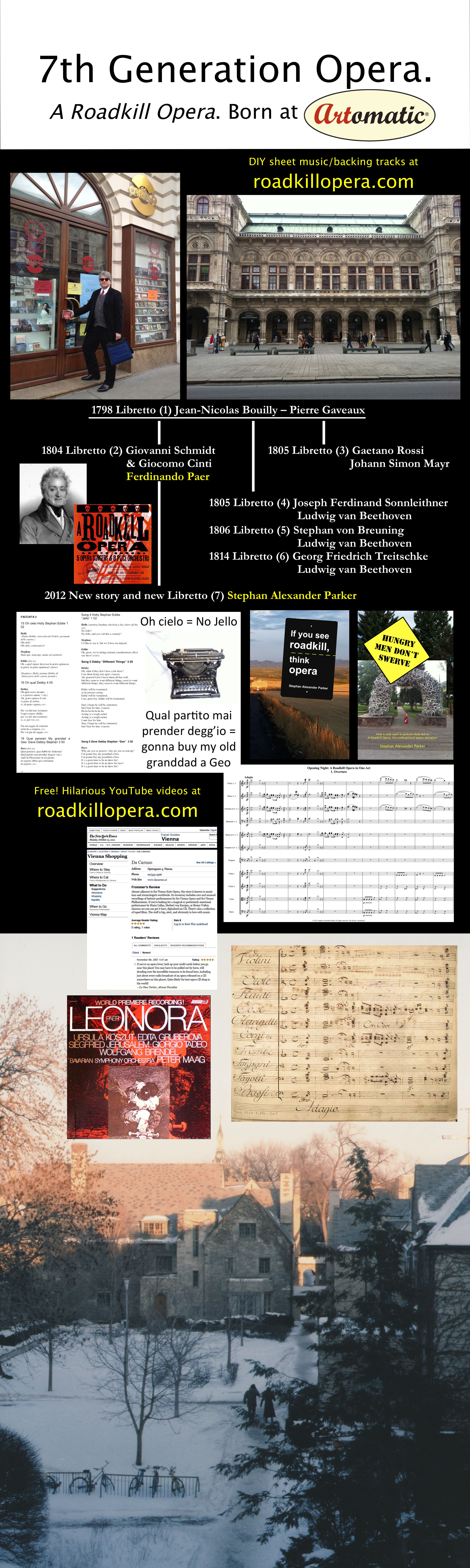 Poster with photos of Da Caruso, a New York Times / Framers review of Da Caruso, photos of the score in 1804 manuscript and 2011 print, covers of the 1978 Leonora album and the 2013 A Roadkill Opera CD, and the view from Parker's dorm in 1979.