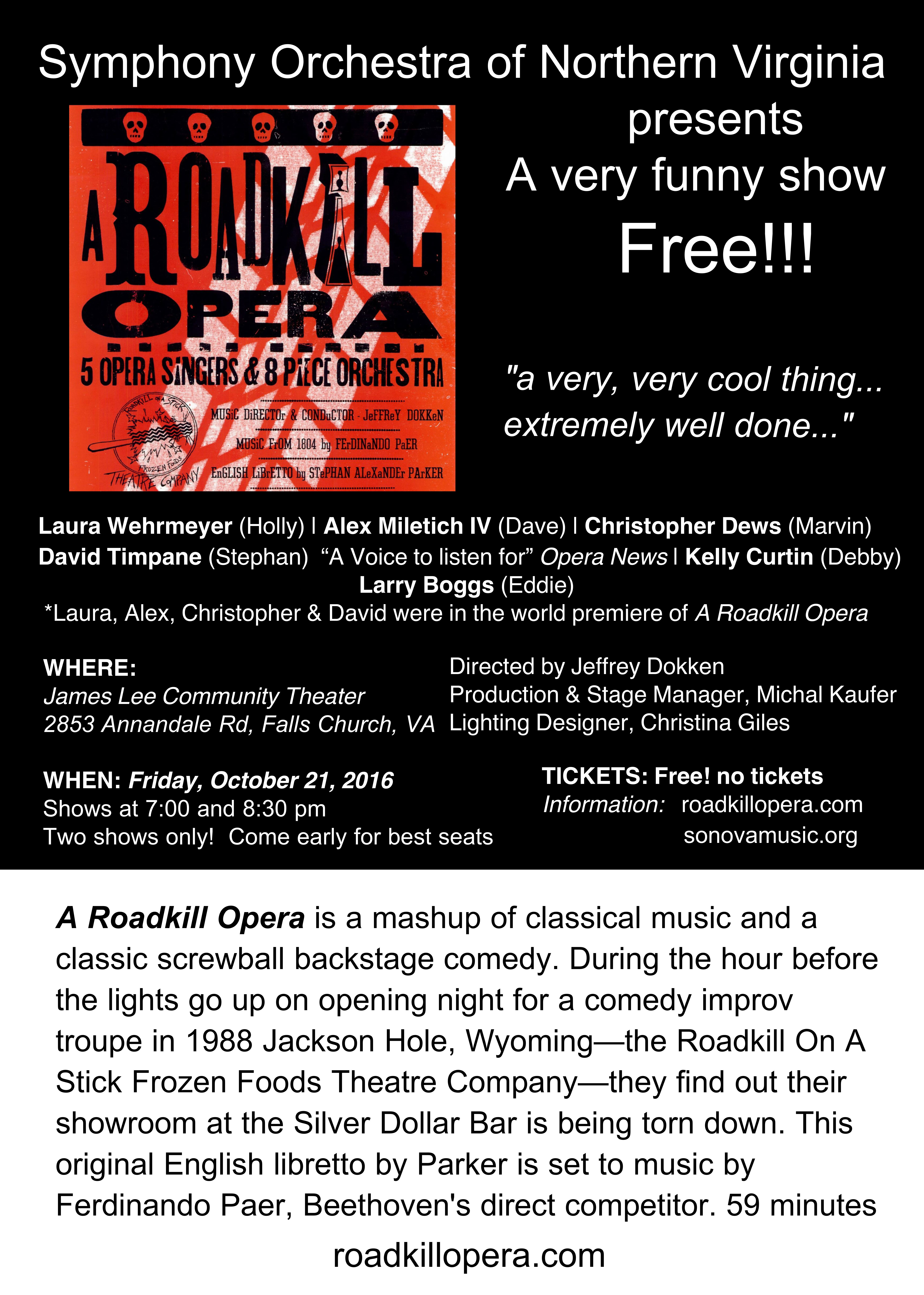Postcard with details on the October 21, 2016 performances of A Roadkill Opera by the Symphony Orchestra of Northern Virginia