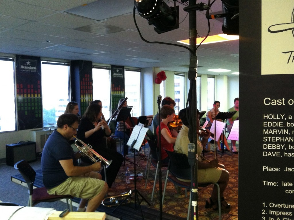 Photo of the chamber orchestra workshopping A Roadkill Opera at Artomatic 2012 in Crystal City, Arlington, Virginia, on June 7