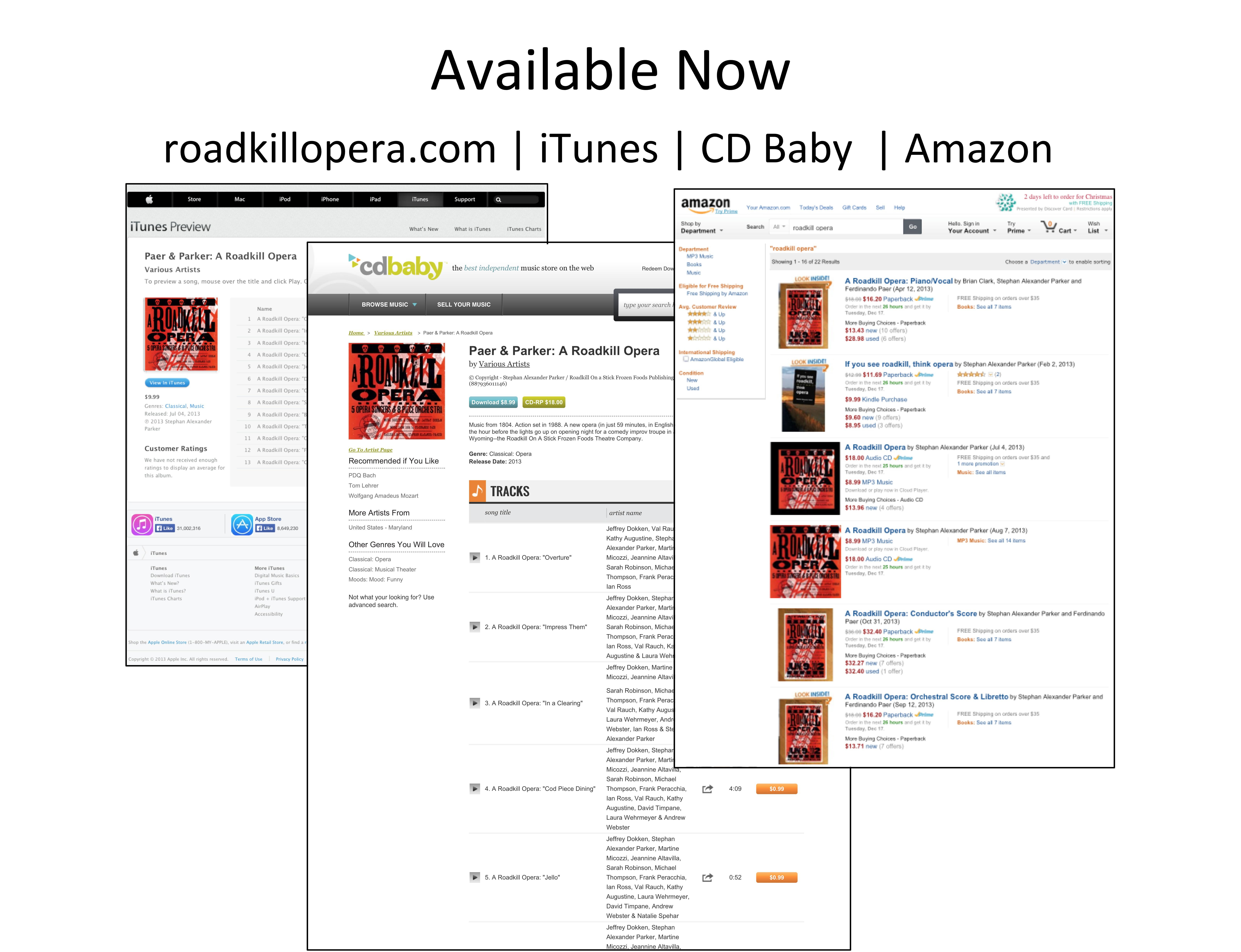 Photo showing ordering pages for iTunes, CDS Baby, and Amazon