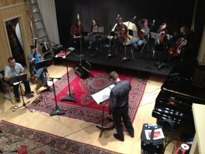Photo of Jeffrey Dokken leading the recording session in January 2013 at Blue House Productions