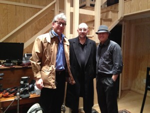 Photo of The producers of the studio recording of A Roadkill Opera (left to right) are Stephan Alexander Parker, Jeff Gruber, and Jeffrey Dokken