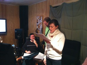 """Photo of singers laying down vocal guide or """"scratch"""" tracks"""