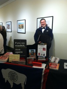 Photo of David Timpane, who created the role of Stephan in A Roadkill Opera, stopped by the pop-up store at A Night of Requiems put on by the Symphony Orchestra of Northern Virginia (SONOVA).