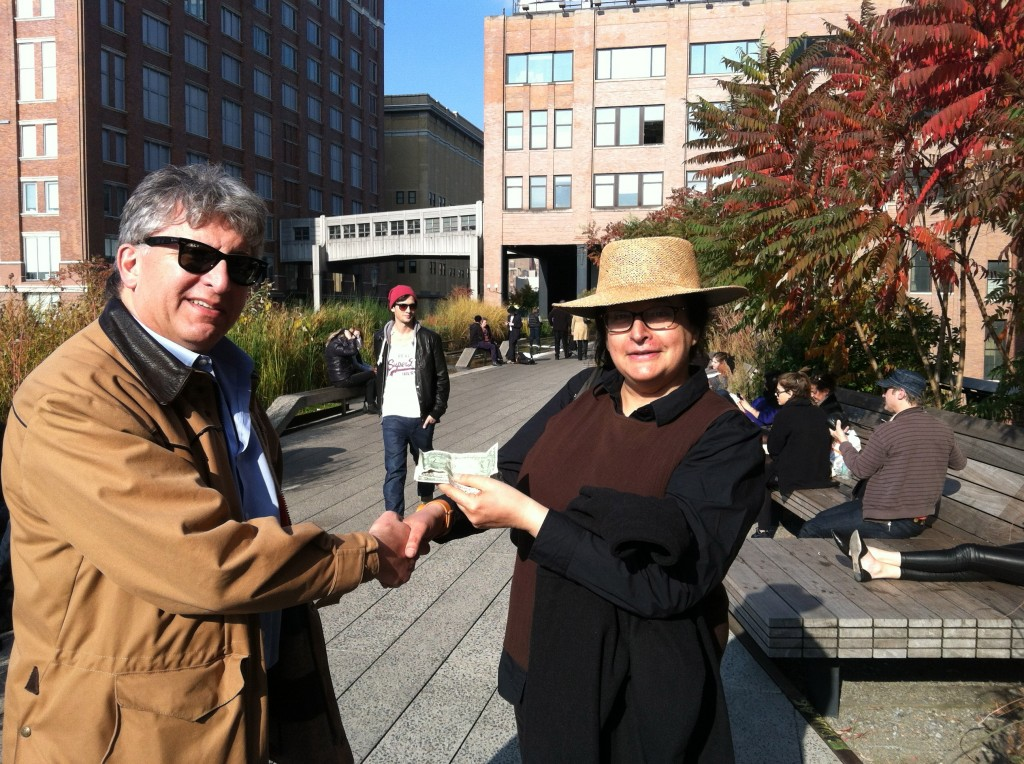 Photo of Stephan Alexander Parker met with his New York business representative, Ryah Naomi, on the High Line in Chelsea, to receive first proceeds from sales of A Roadkill Opera sheet music to Strand Books