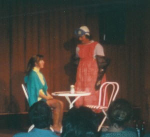 Photo of Cod Piece Dining Room comedy sketch, 1988, with Holly Danner and Ed Bachtel on a singles cruise