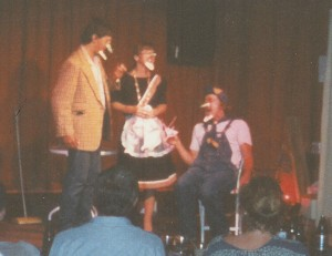 A mash-up of Leave It To Beaver and Godzilla, the 1988 comedy sketch Beaverzilla was an audience favorite. Pictured are Wardzilla, Junezilla, and  Beaverzilla as portrayed by Stephan Alexander Parker, Holly Danner, and Ed Bachtel