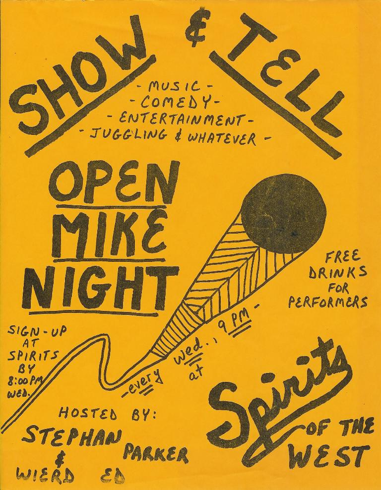 Publicity flier for the Open Mike Night at Spirits of the West
