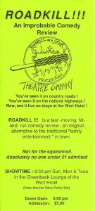 Handbills for the 1988 Roadkill Live!!! improv sketch comedy revue
