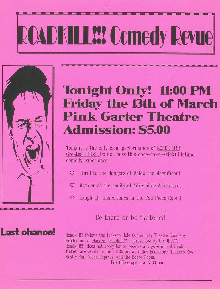 The flyer advertising Roadkill !!! Greatest Hits in March 1992