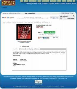 Photo of order page from website for Groth Music, the largest sheet music retailer in Minnesota. Groth sells the CD, Conductor's Score, and parts for A Roadkill Opera