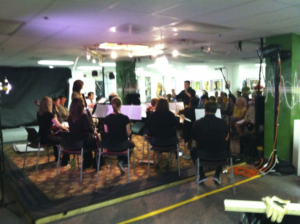 Photo of a backstage view of the workshop concert performance of A Roadkill Opera at Artomatic 2012 in Crystal City, Arlington, Virginia