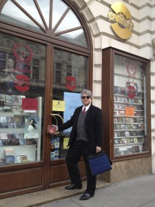 Photo of Stephan Alexander Parker brought CDs of the studio recording of A Roadkill Opera to Da Caruso in Vienna, Austria