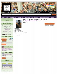 Screenshot of If You See Roadkill Think Opera on the Politics & Prose website in May 2014