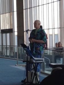 Photo of Artomatic Chair Emeritus and founder George Koch speaking at the opening of Artomatic Takes Flight on July 25, 2014.