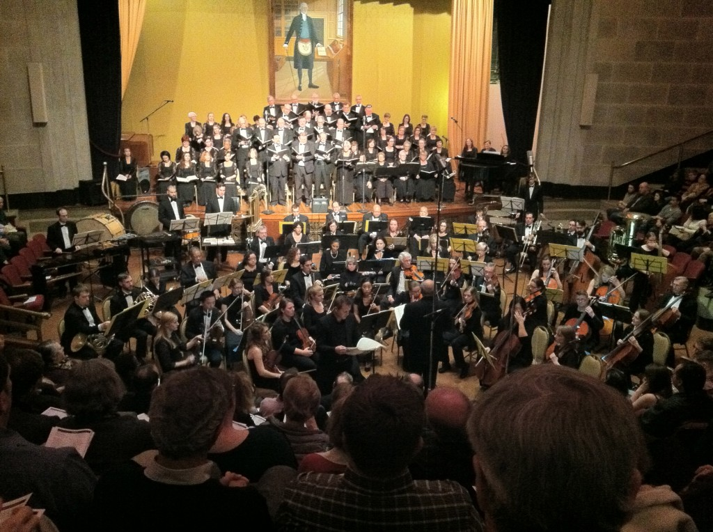 Photo of the Metropolitan Chorus and Symphony Orchestra of Northern Virginia performing Carl Orff's Carmina Burana on November 8, 2014. Soloist Jeffrey is visible at front.