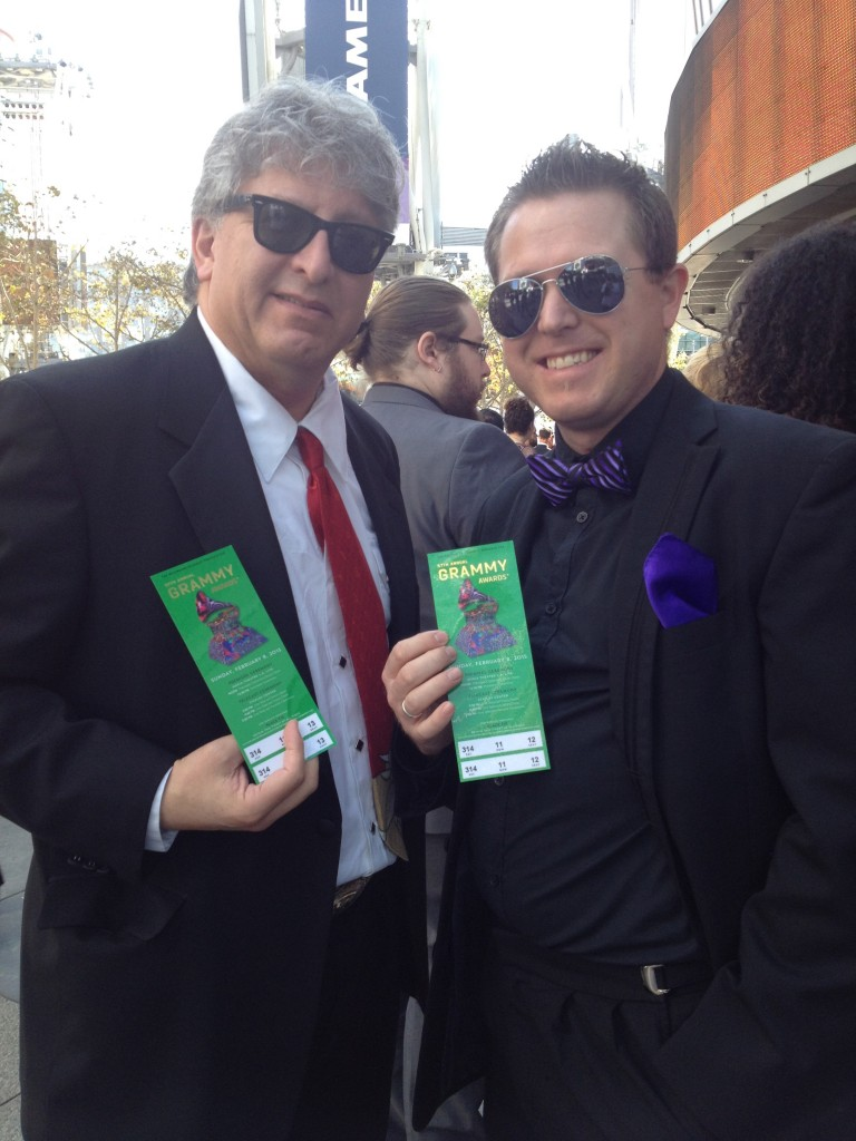 Photo of Stephan Alexander Parker and Jeffrey Dokken showing their Grammy tickets