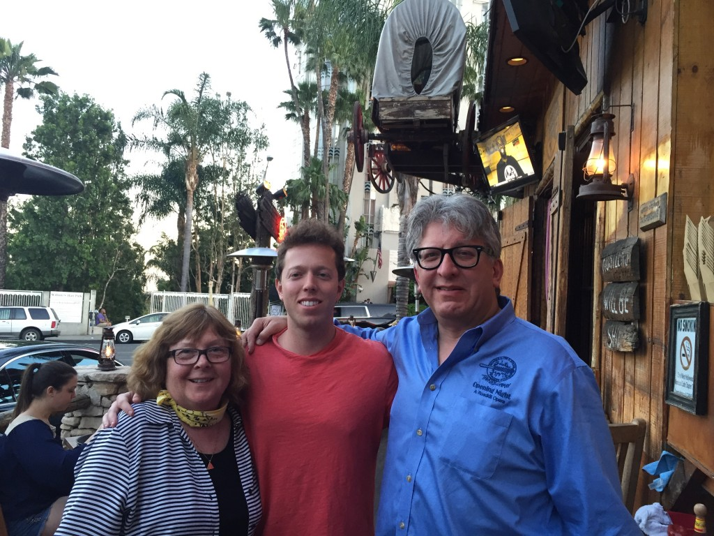 Photo of Choupin, Ganz, and Parker outside the Saddle Ranch Bar on Sunset Boulevard