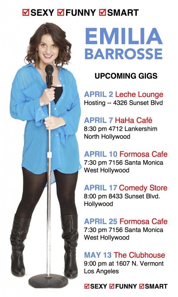 Poster showing Emilia Barrosse holding a microphone on a mic stand, with dates, times, and locations listed for comedy clubs