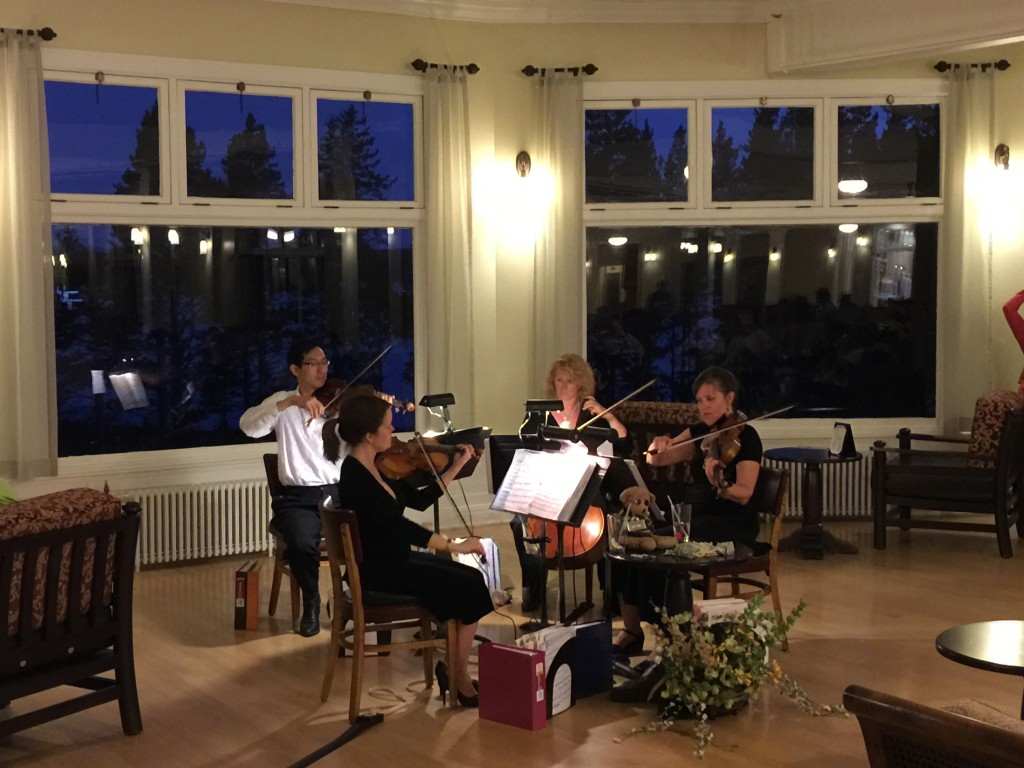 Photo of the Lake String Quartet playing at the Lake Hotel in Yellowstone National Park