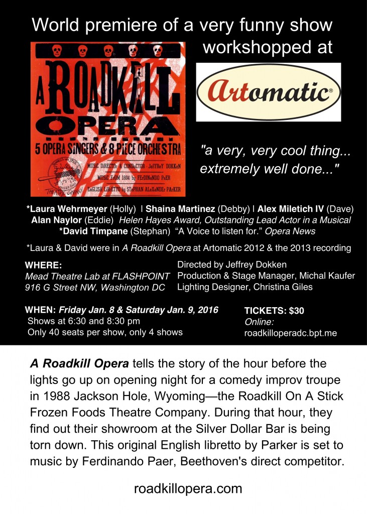 Postcard with cast, artistic staff, dates and costs for seeing A Roadkill Opera in Washington DC on January 8-9, 2016