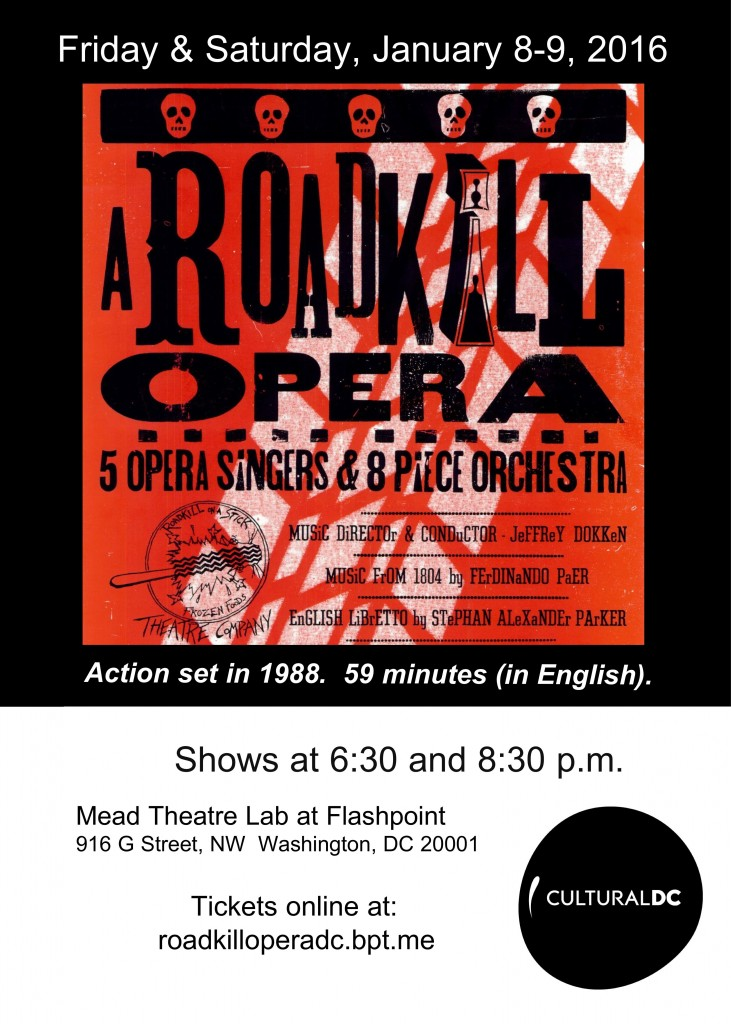 Details for seeing the world premiere performances of A Roadkill Opera are shown on this postcard. Tickets are available at Brown Paper Tickets at roadkilloperadc.bpt.me