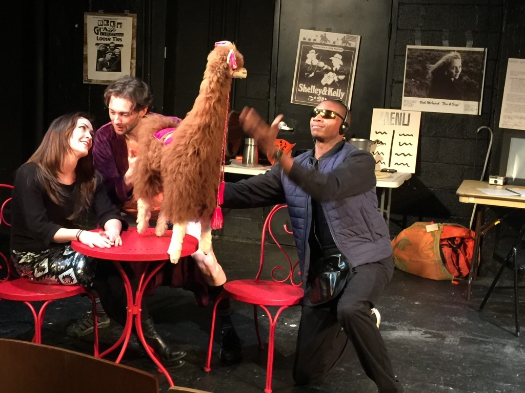 Photo of Holly, Eddie, llama, and Marvin on the set of A Roadkill Opera