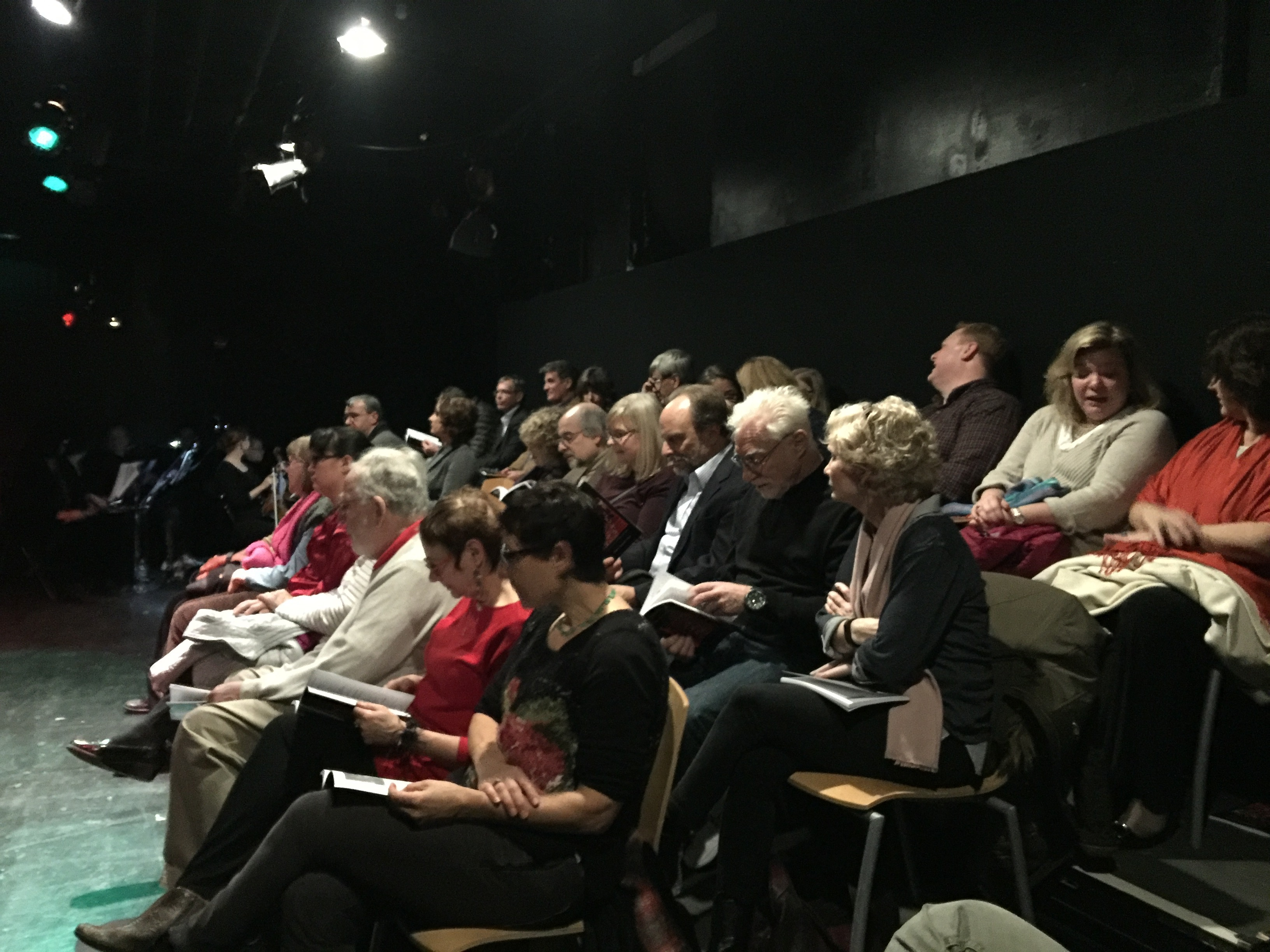 Photo of audience at at a January 2016 performance of A Roadkill Opera at the Mead Theatre Lab at Flashpoint in Washington, DC