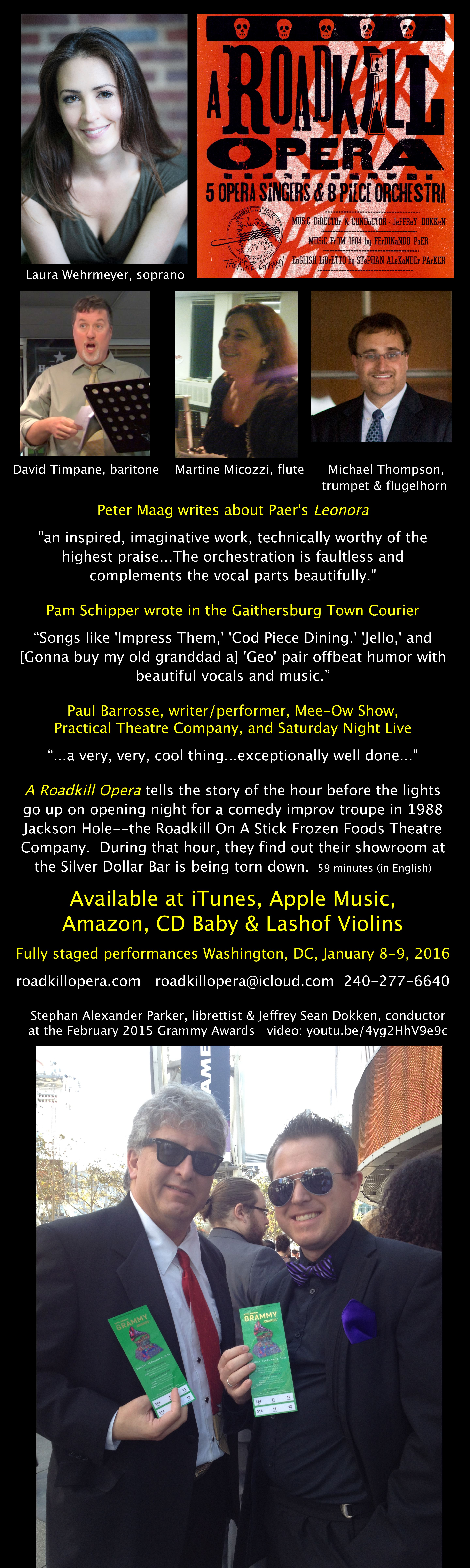 24 inch by 40 inch banner with quotes from reviews of A Roadkill Opera and Ferdinando Paer's Leonora