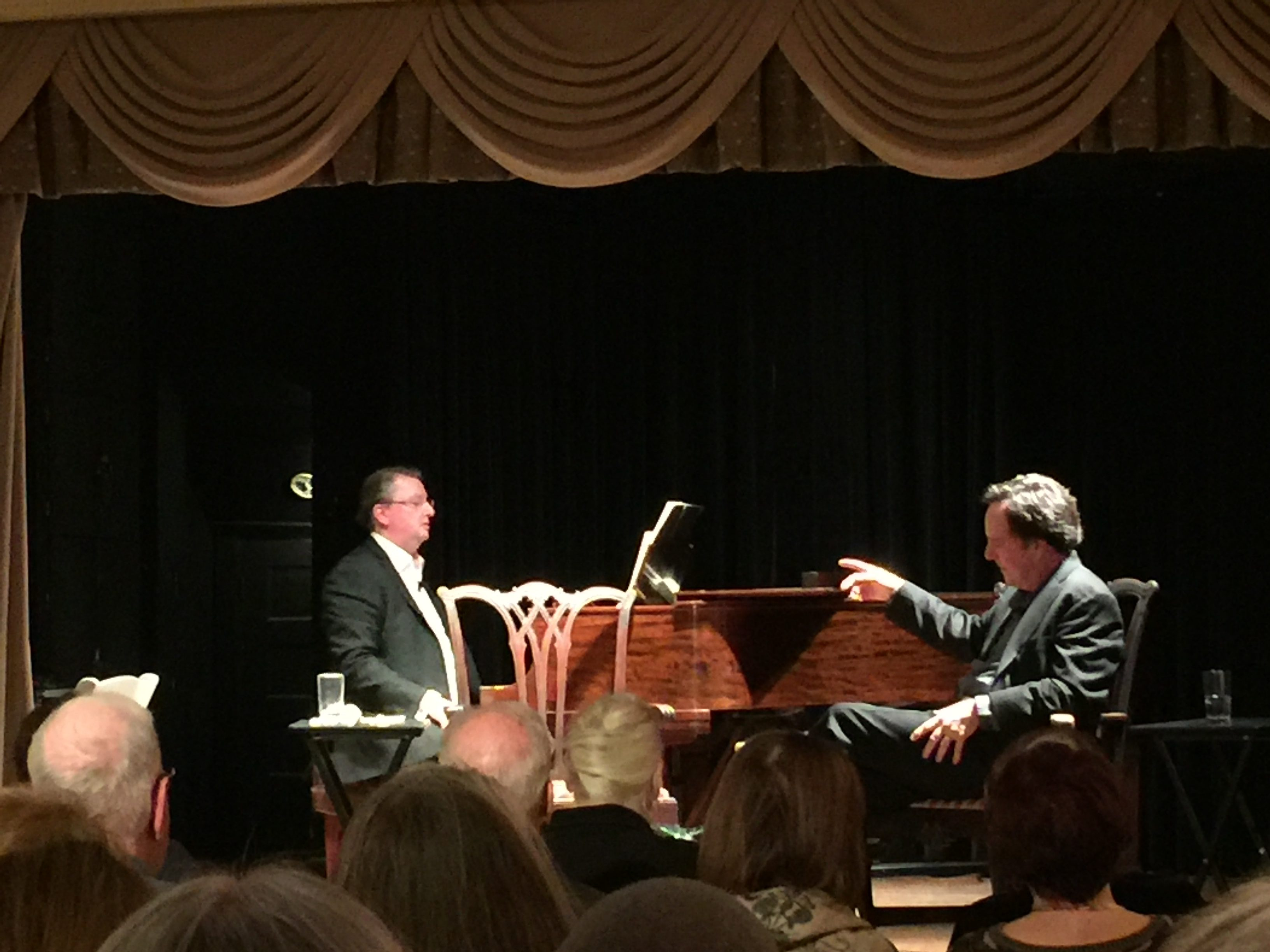 Photo of Walker and Brown speaking at the Arts Club of Washington (DC) in January 2017