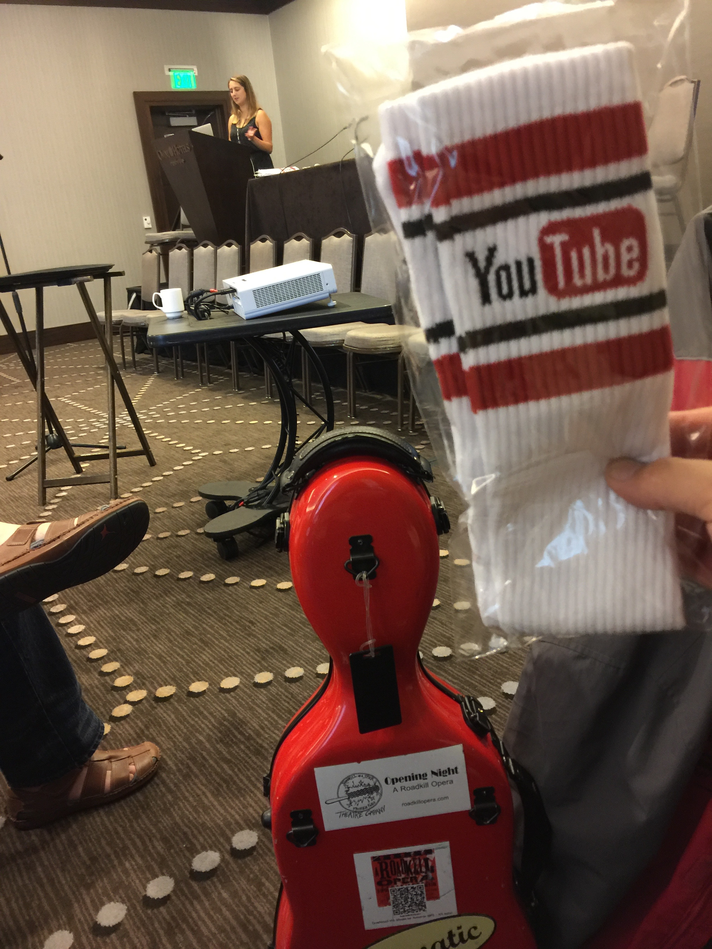 Photo of YouTube swag--tube socks at CD Baby's DIY Musicians Conference 2017 in Nashville, Tennessee