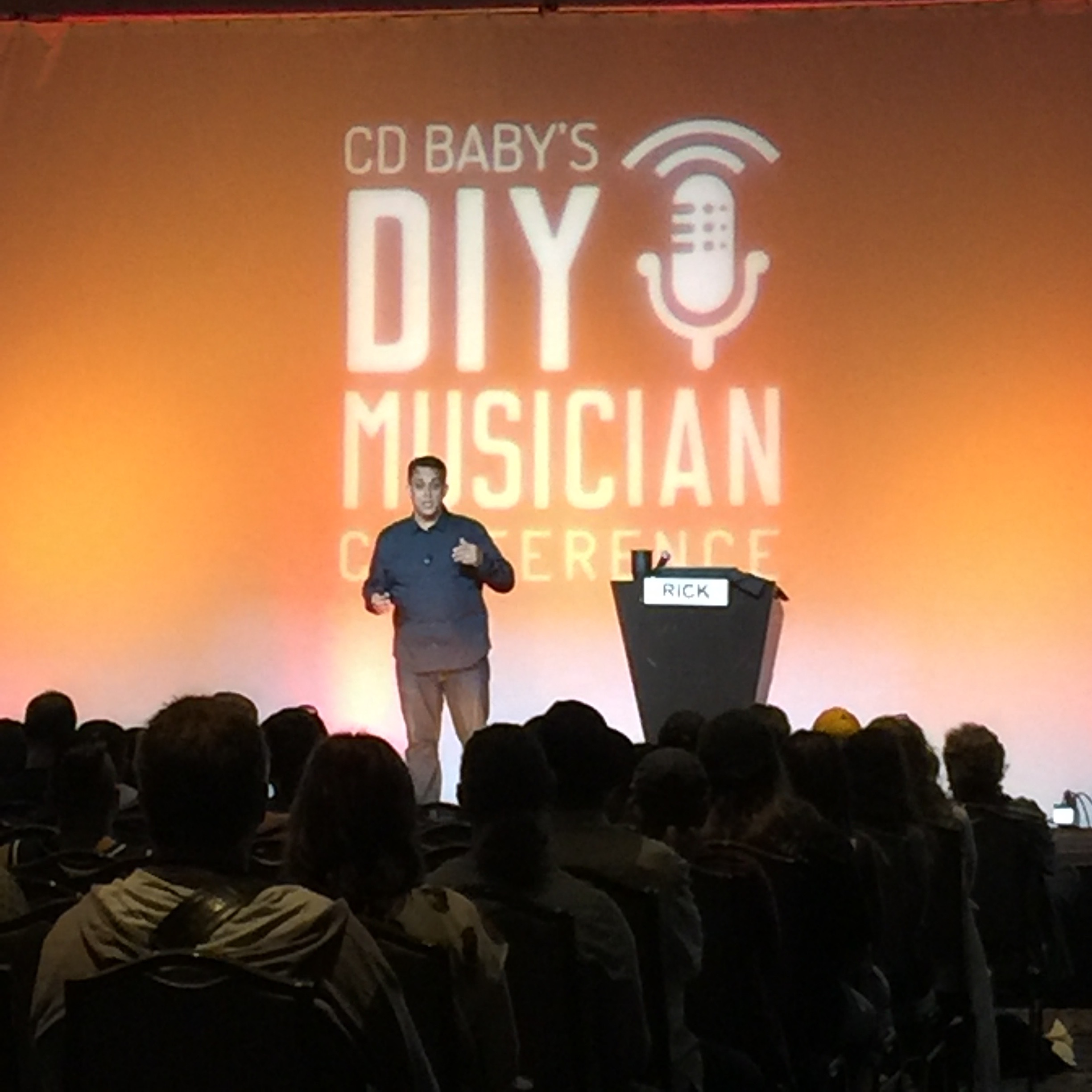 Photo of Rick Barker keynote at CD Baby's DIY MUsicians Conference 23017 in Nashville, Tennessee