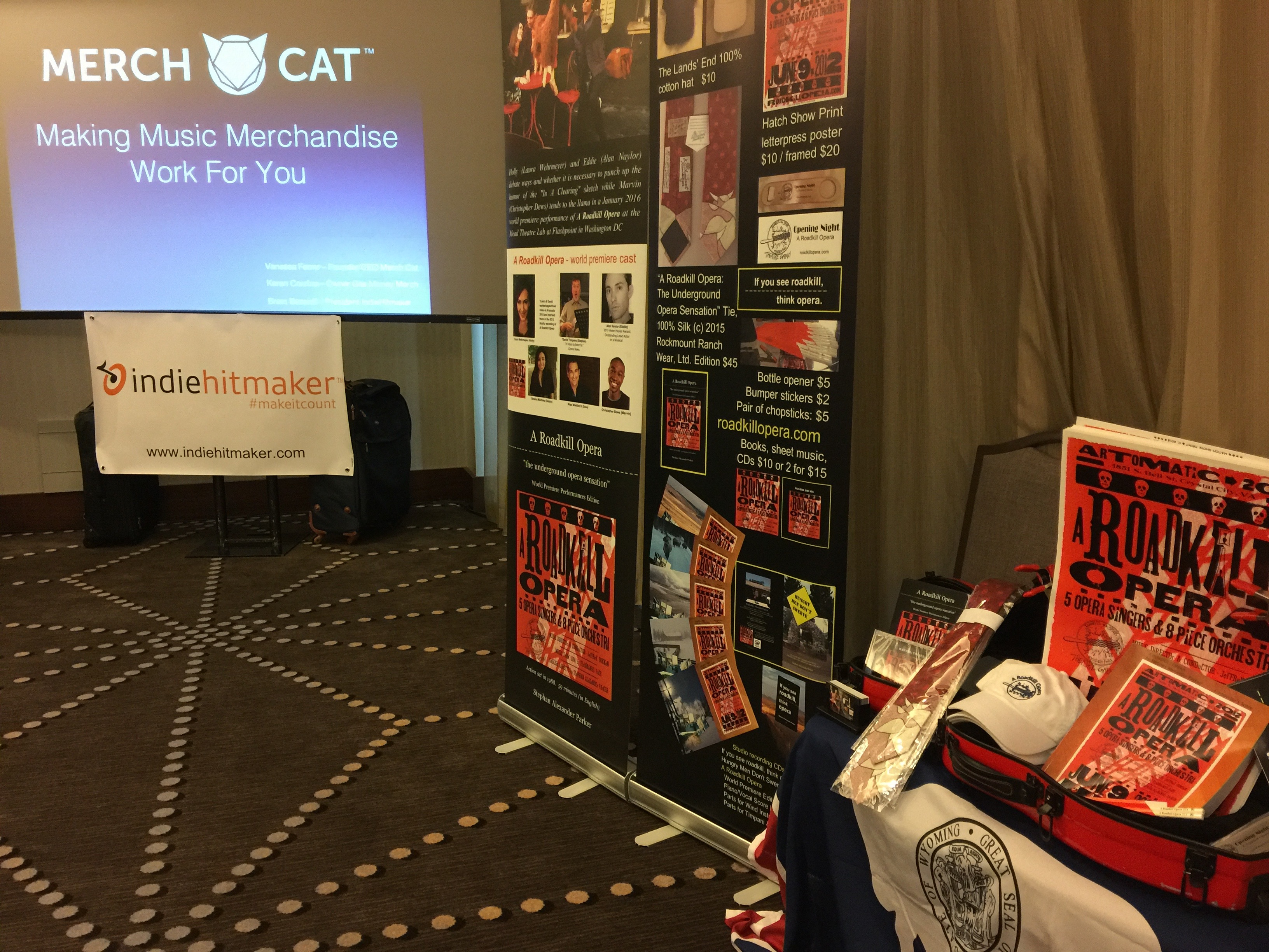 Photo of A Roadkill Opera's merch display in the Merch Cat sessions at CD Baby's DIY Musicians Conference 2017
