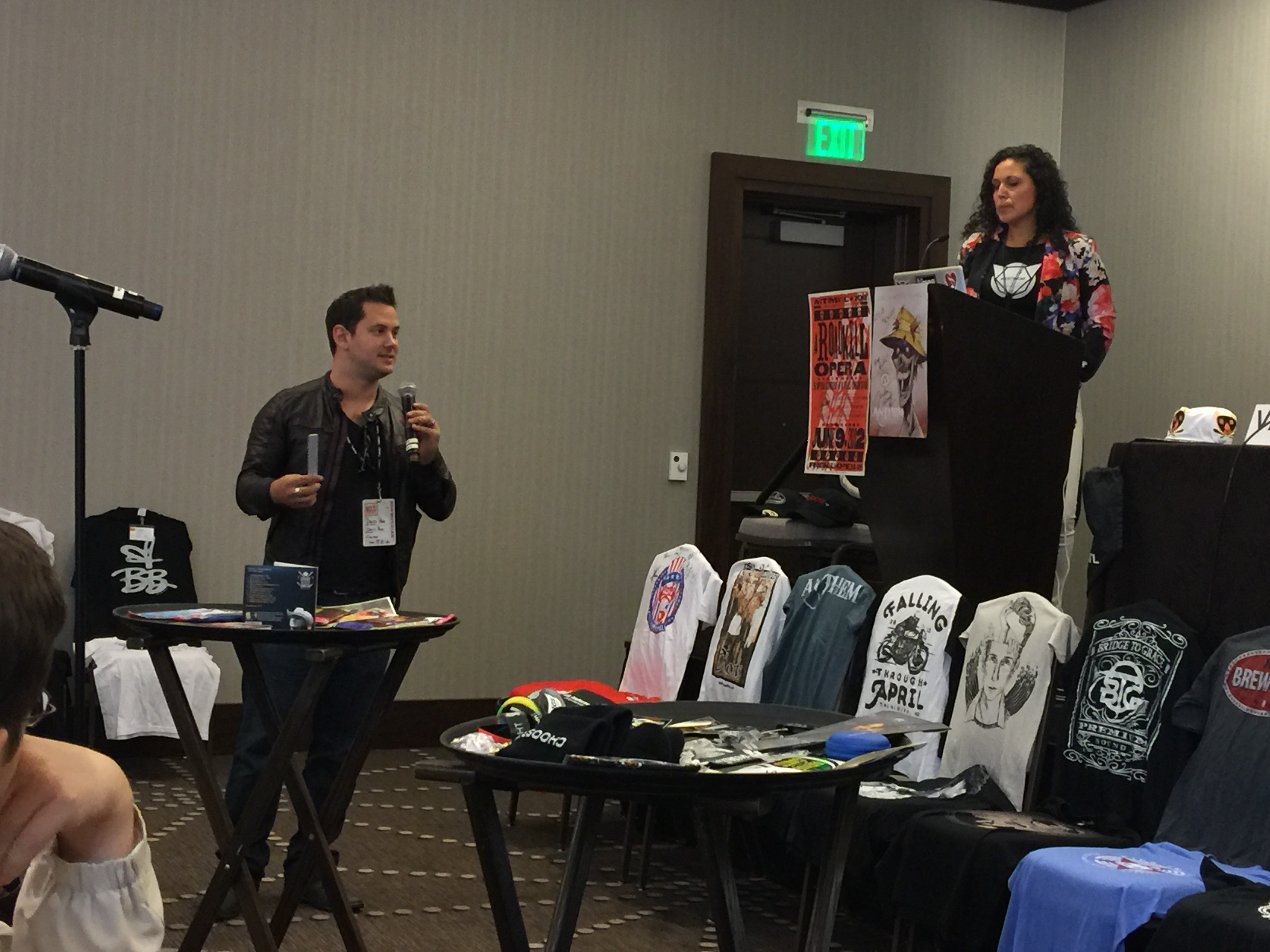Photo of David Paige and Merch Cat's Vanessa Ferrer at CD Baby's DIY Musicians Conference 2017