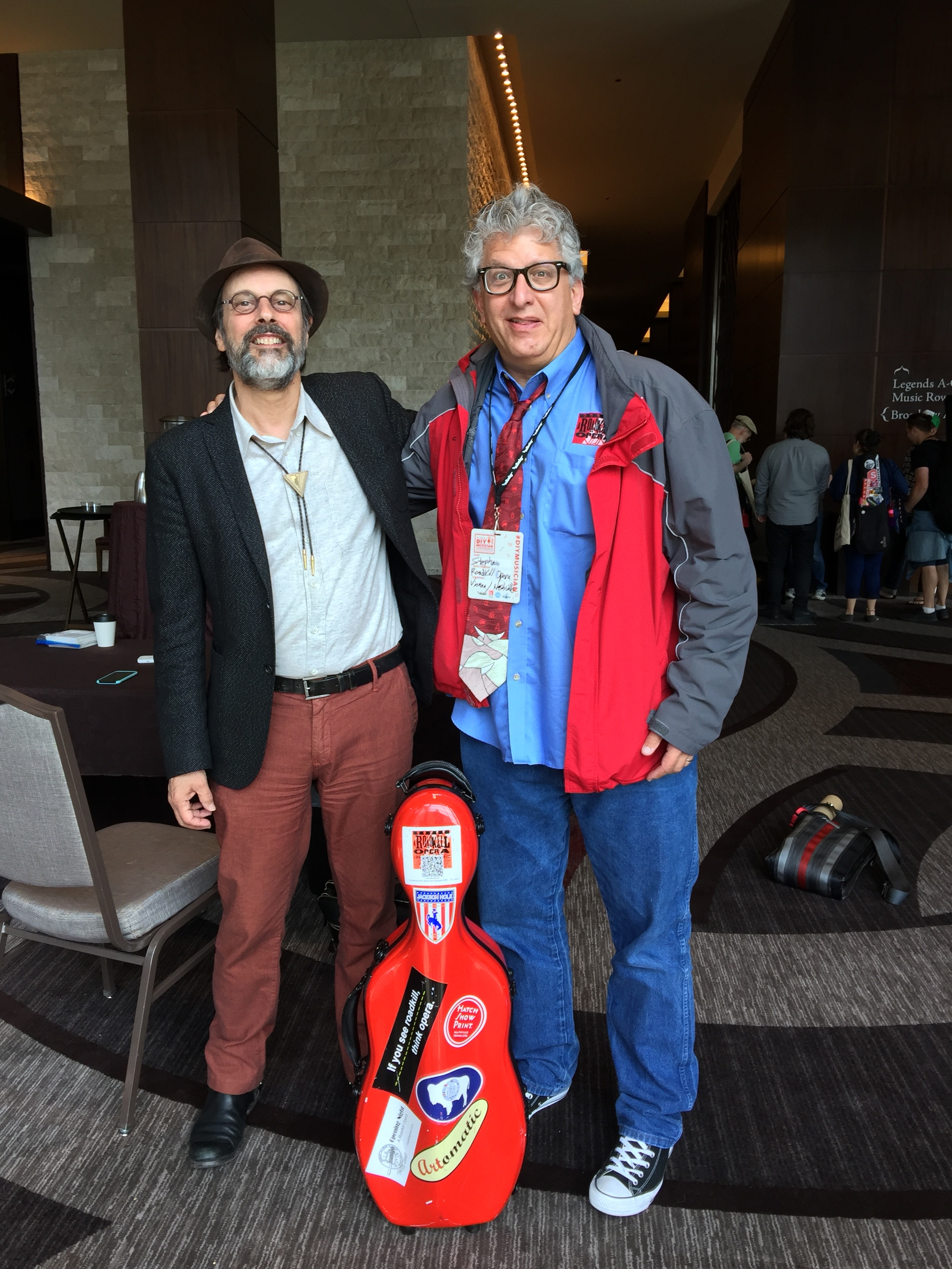 Photo of Bob Boilen of NPR Music's All Songs Considered and A Roadkill Opera's Librettist/Executive Producer Stephan Alexander Parker at CD Baby's DIY Musicians Conference 2017 in Nashville, Tennessee