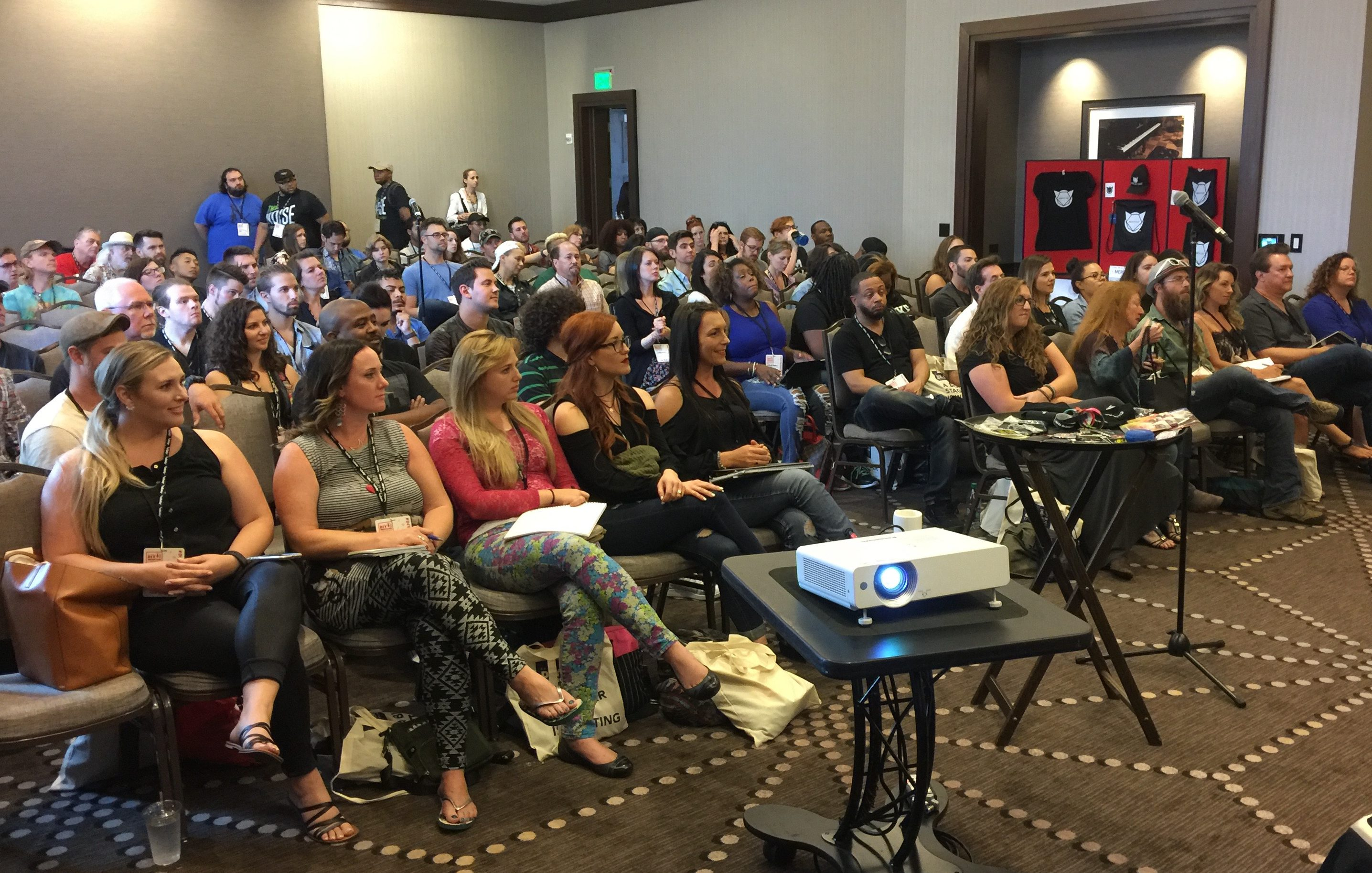 Photo of standing room only crowd for Merch Cat's session at CD Baby's DIY Musicians Conference 2017 in Nashville, Tennessee